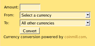 Screenshot of the currency form